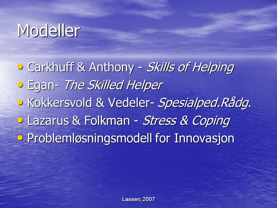 Modeller Carkhuff & Anthony - Skills of Helping