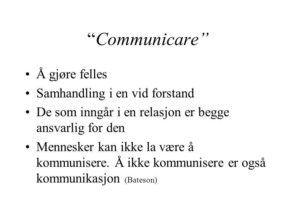 Communicare Å gjøre felles Samhandling i en vid forstand