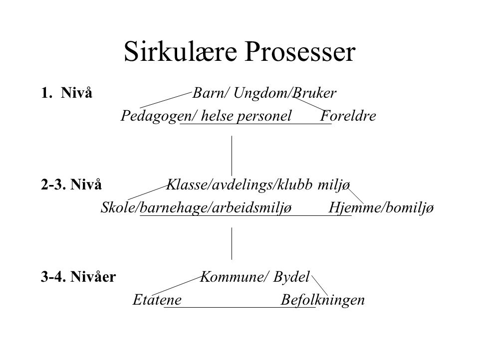 Sirkulære Prosesser 1. Nivå Barn/ Ungdom/Bruker