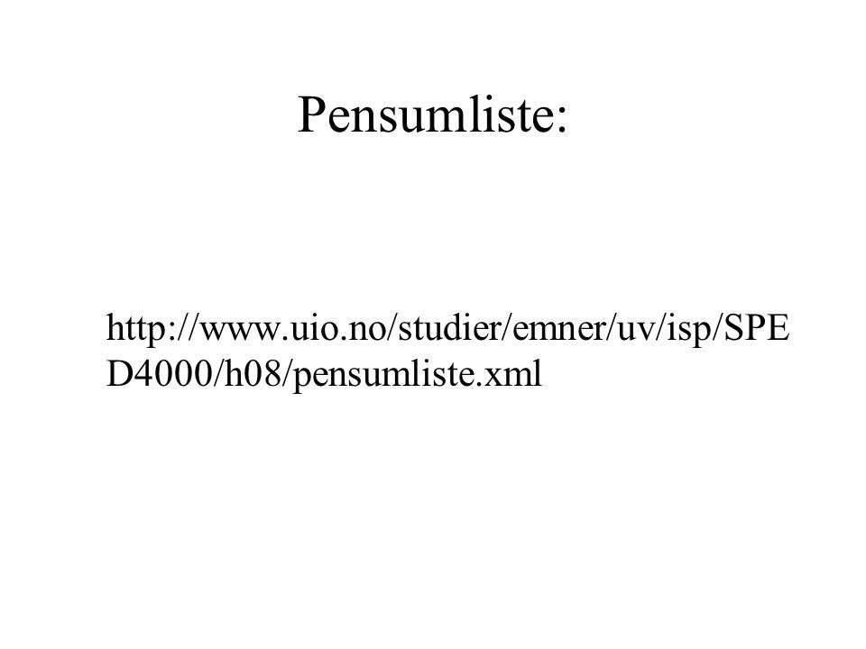 Pensumliste: http://www.uio.no/studier/emner/uv/isp/SPED4000/h08/pensumliste.xml