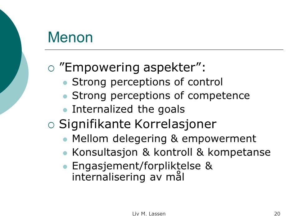 Menon Empowering aspekter : Signifikante Korrelasjoner