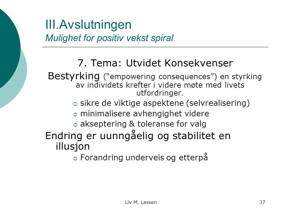 III.Avslutningen Mulighet for positiv vekst spiral