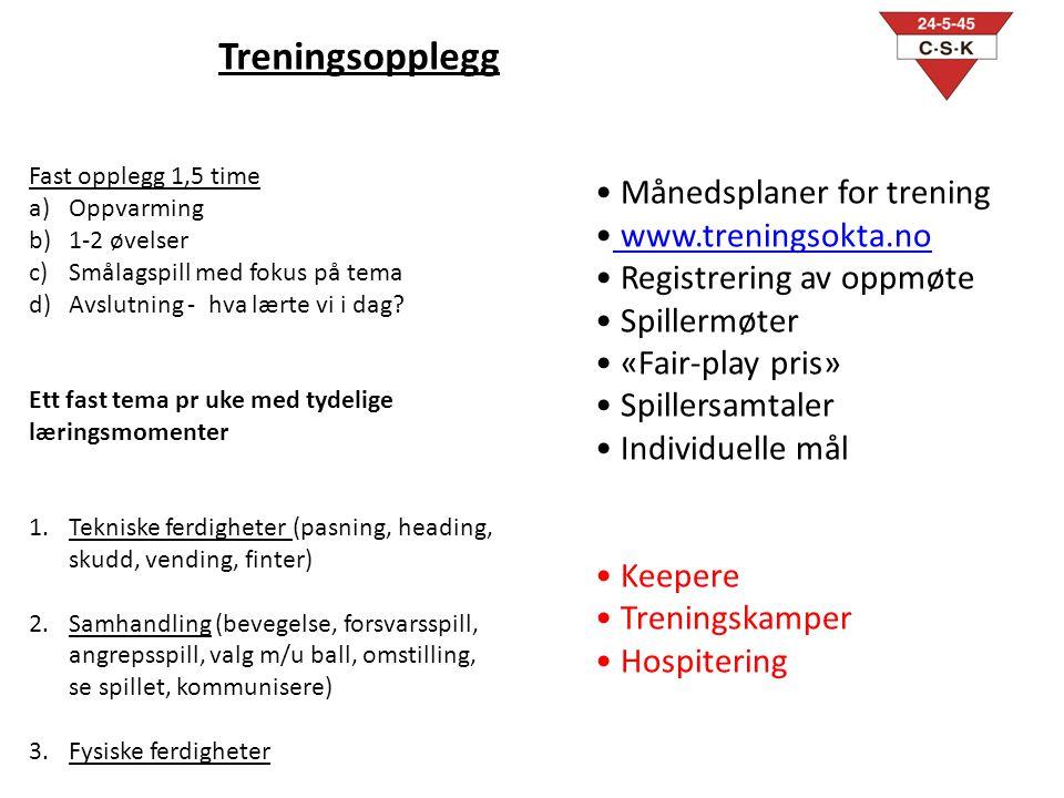 Treningsopplegg Månedsplaner for trening www.treningsokta.no