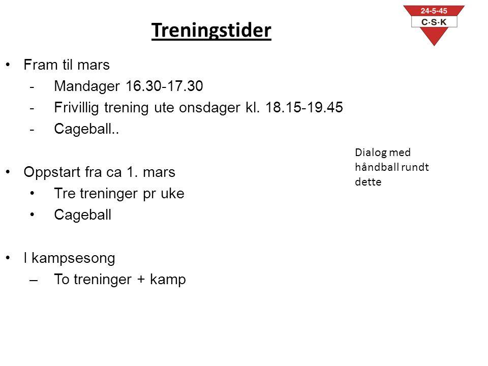 Treningstider Fram til mars Mandager 16.30-17.30