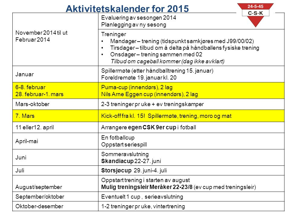 Aktivitetskalender for 2015