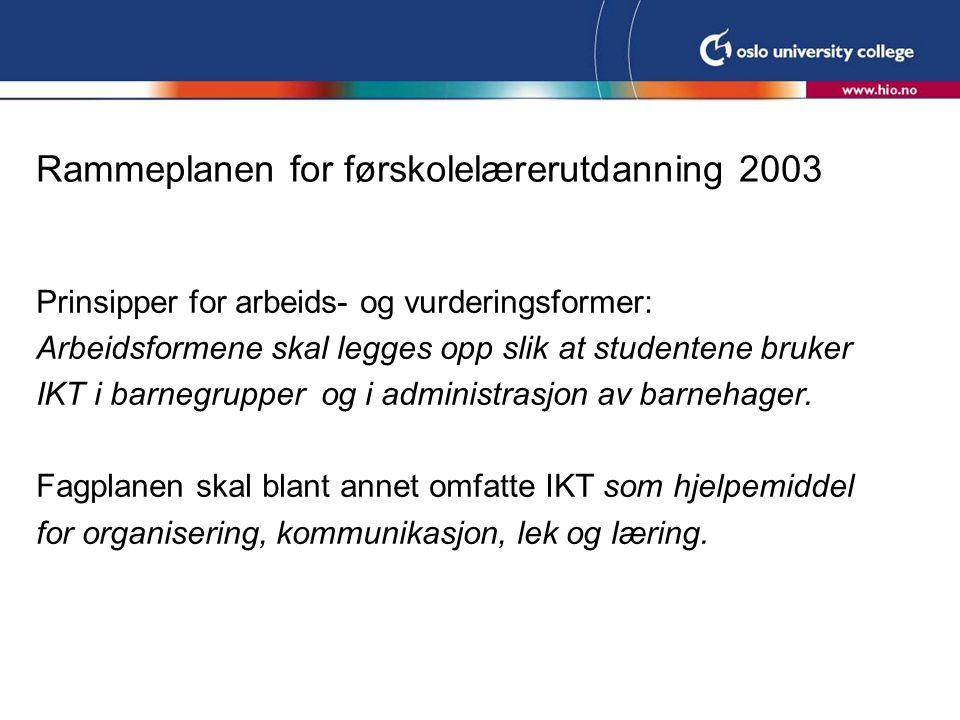 Rammeplanen for førskolelærerutdanning 2003