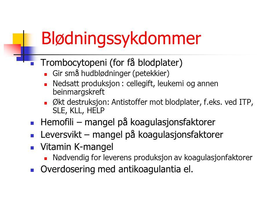 Blødningssykdommer Trombocytopeni (for få blodplater)