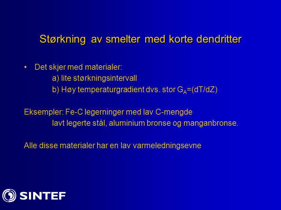 Størkning av smelter med korte dendritter