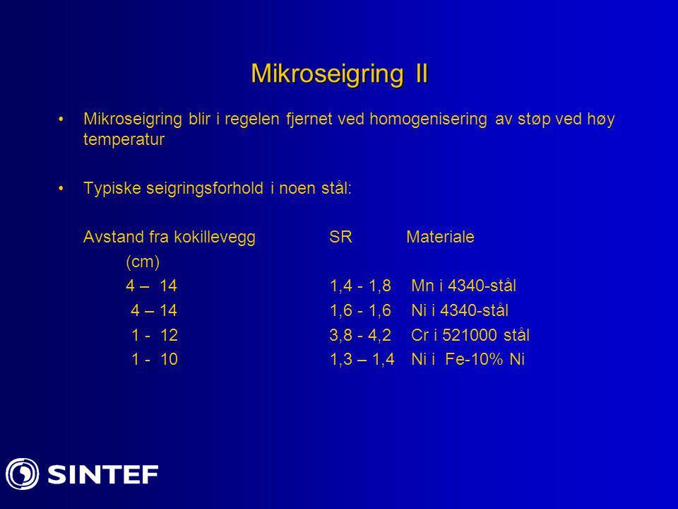Mikroseigring II Mikroseigring blir i regelen fjernet ved homogenisering av støp ved høy temperatur.