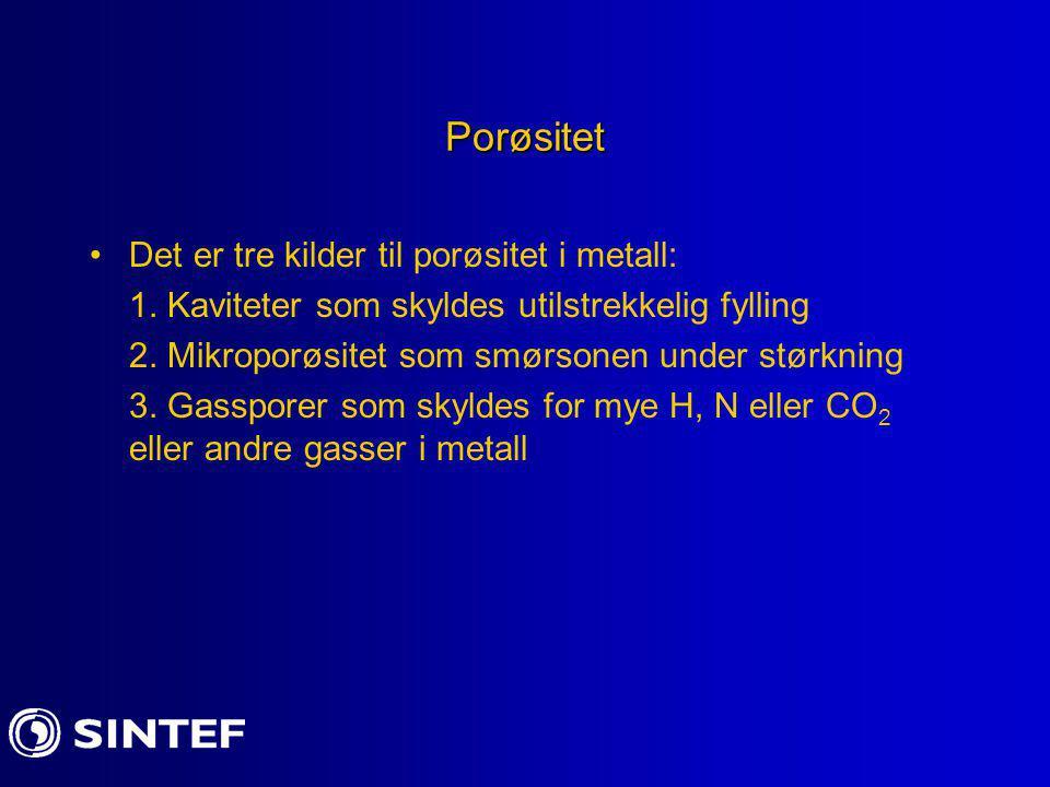 Porøsitet Det er tre kilder til porøsitet i metall: