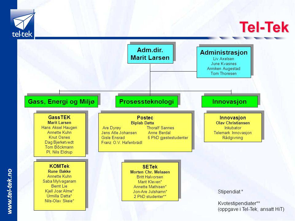 Tel-Tek Adm.dir. Marit Larsen Administrasjon Gass, Energi og Miljø