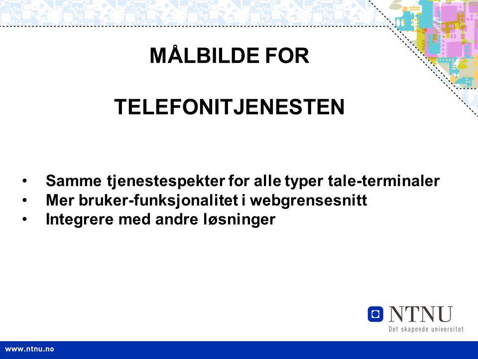MÅLBILDE FOR TELEFONITJENESTEN