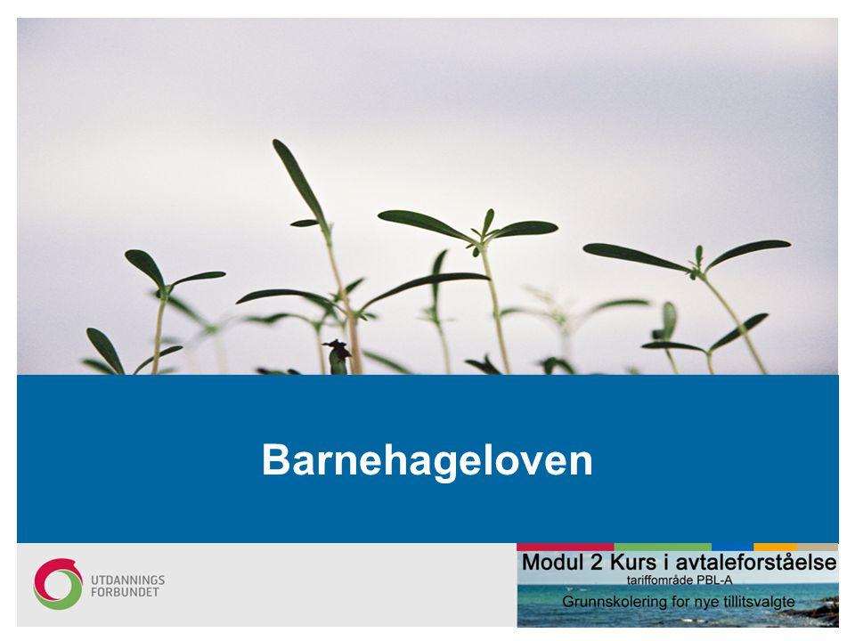 Oppdatert pr 20.9.2011 (NBJ) Barnehageloven