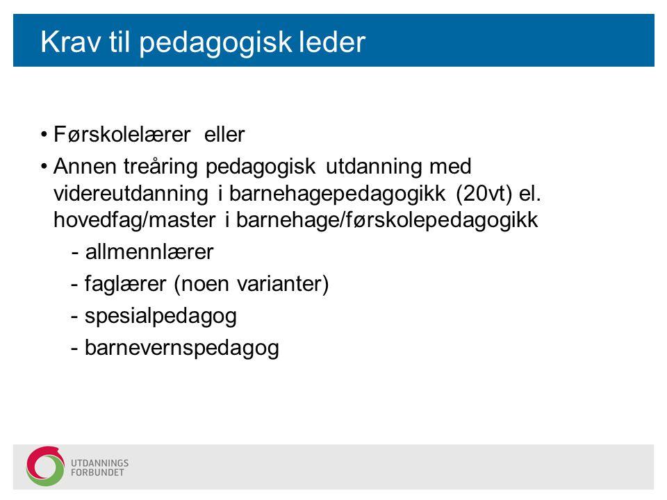Krav til pedagogisk leder