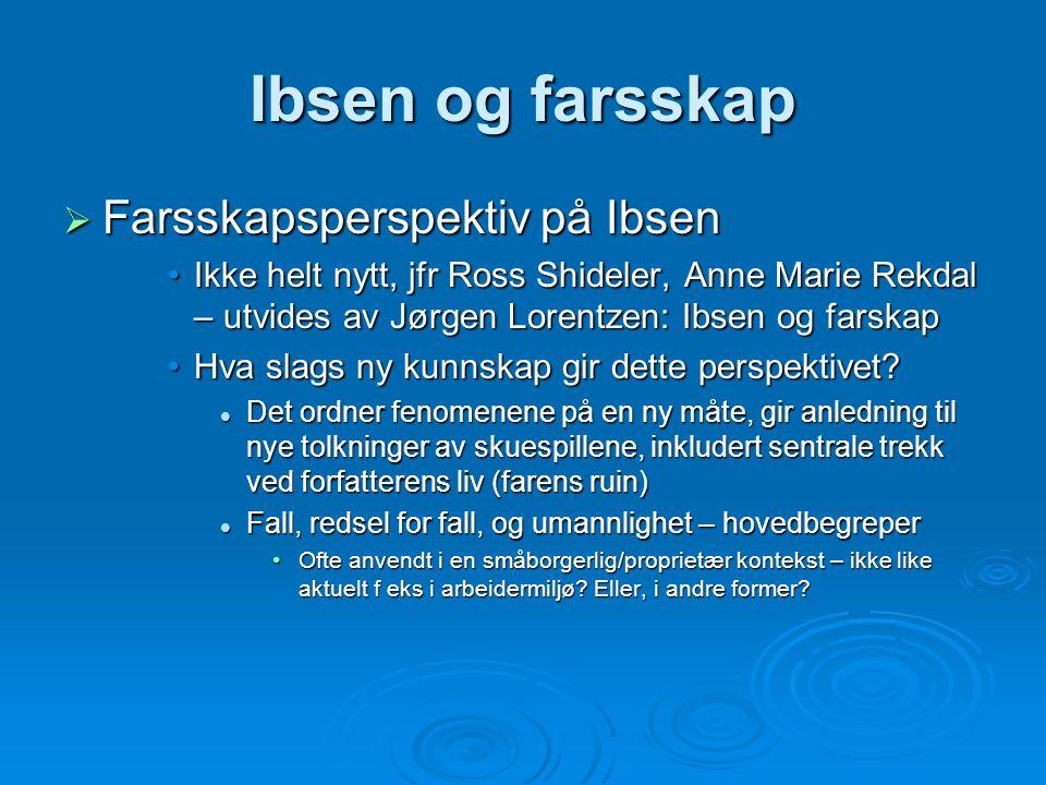 Ibsen og farsskap Farsskapsperspektiv på Ibsen