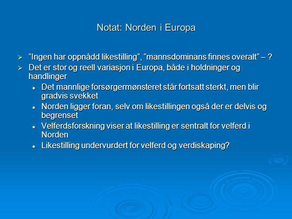 Notat: Norden i Europa Ingen har oppnådd likestilling , mannsdominans finnes overalt –
