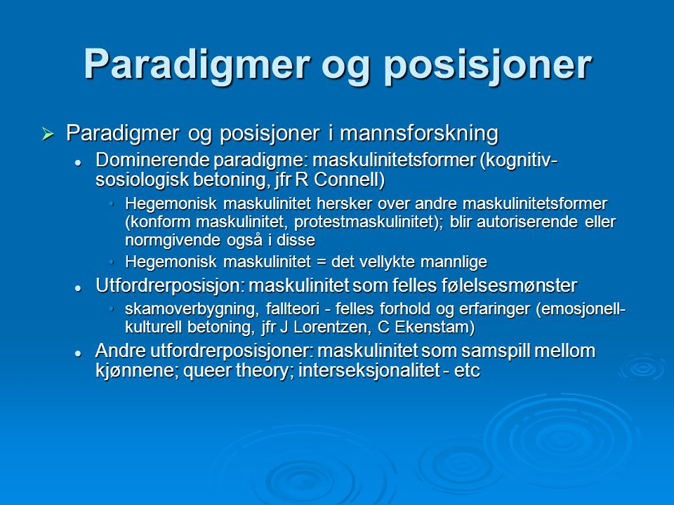 Paradigmer og posisjoner