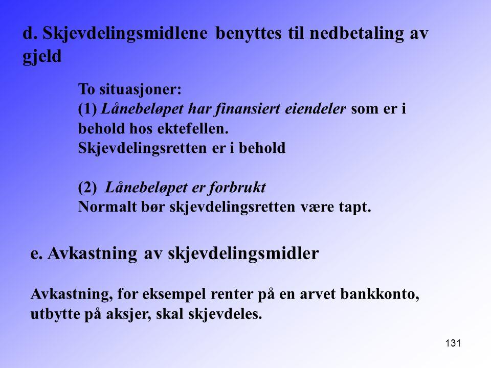 d. Skjevdelingsmidlene benyttes til nedbetaling av gjeld