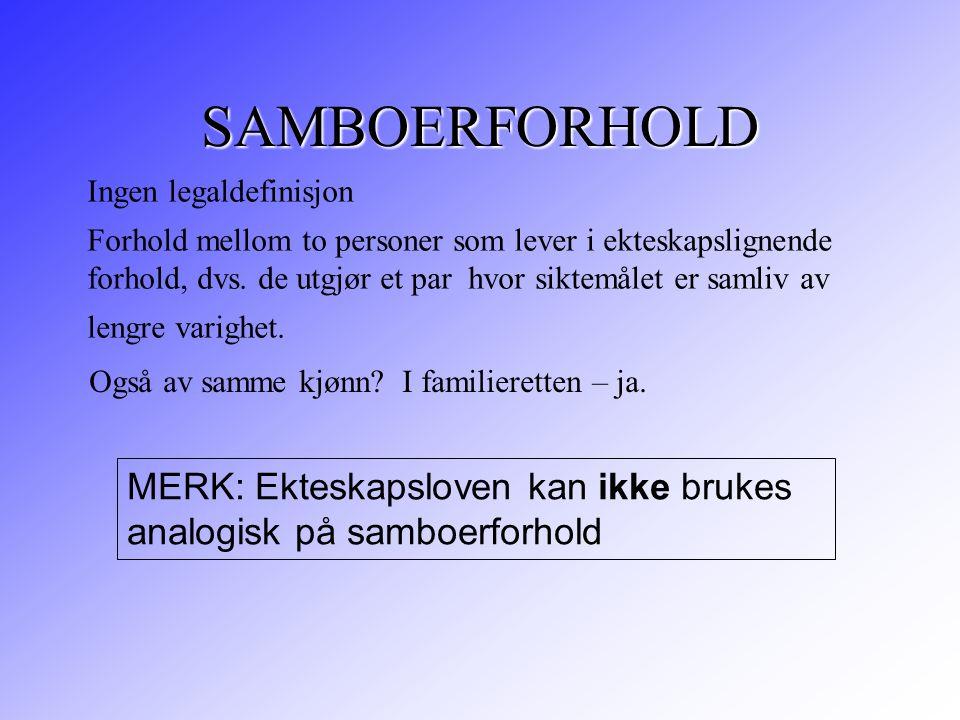 SAMBOERFORHOLD Ingen legaldefinisjon
