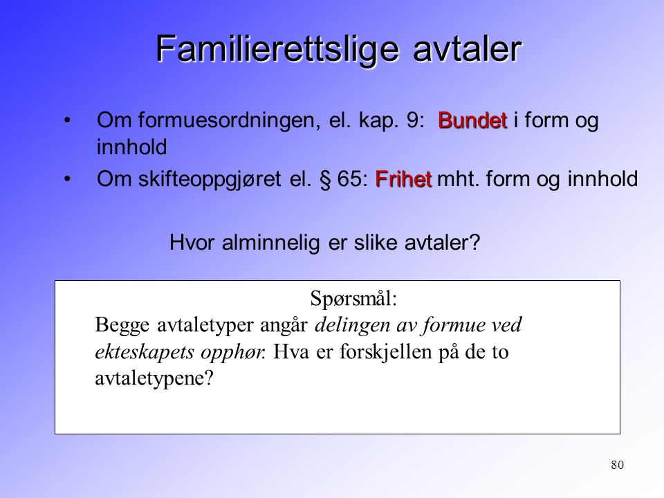 Familierettslige avtaler