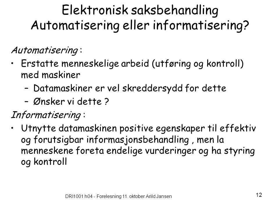 Elektronisk saksbehandling Automatisering eller informatisering