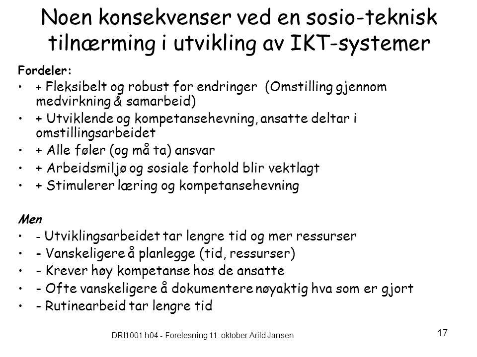 DRI1001 h04 - Forelesning 11. oktober Arild Jansen