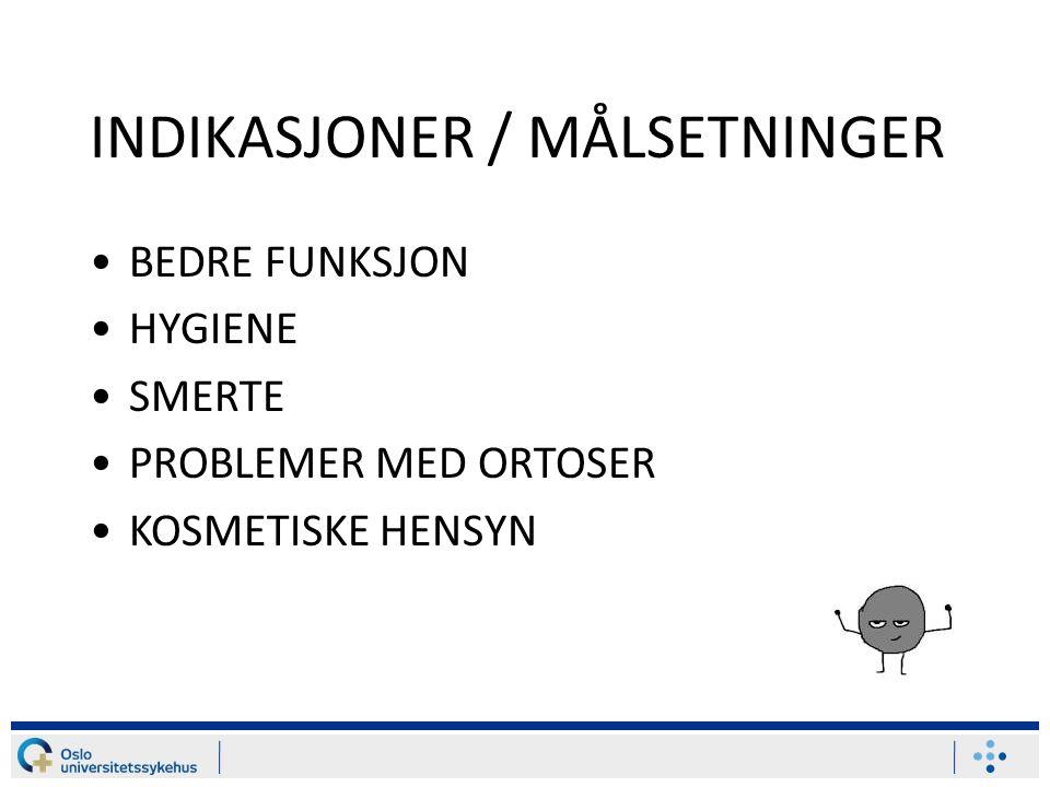 INDIKASJONER / MÅLSETNINGER