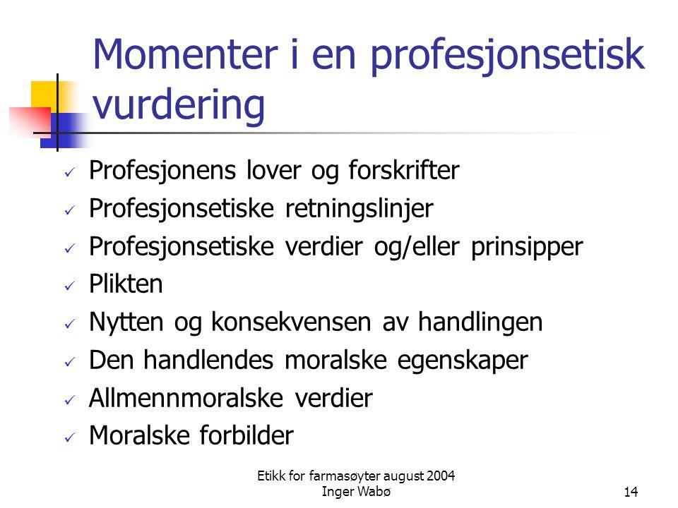 Momenter i en profesjonsetisk vurdering