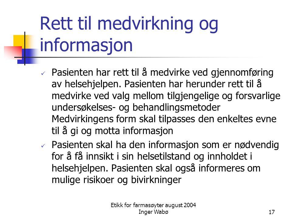 Rett til medvirkning og informasjon