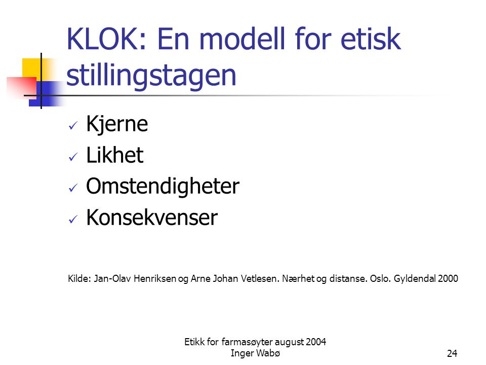 KLOK: En modell for etisk stillingstagen