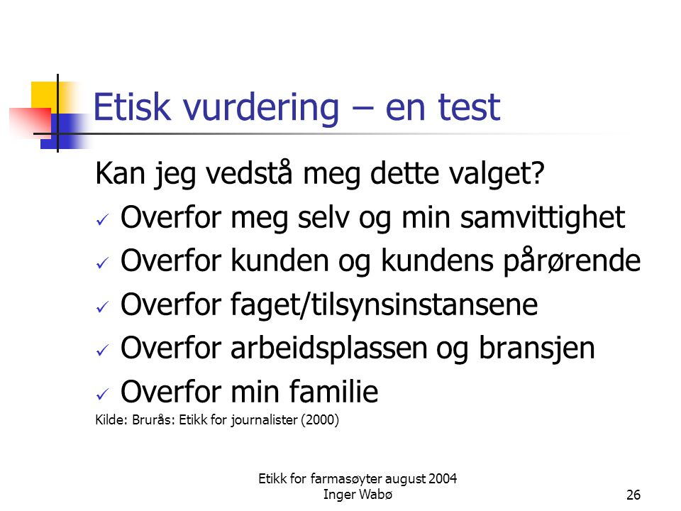 Etisk vurdering – en test