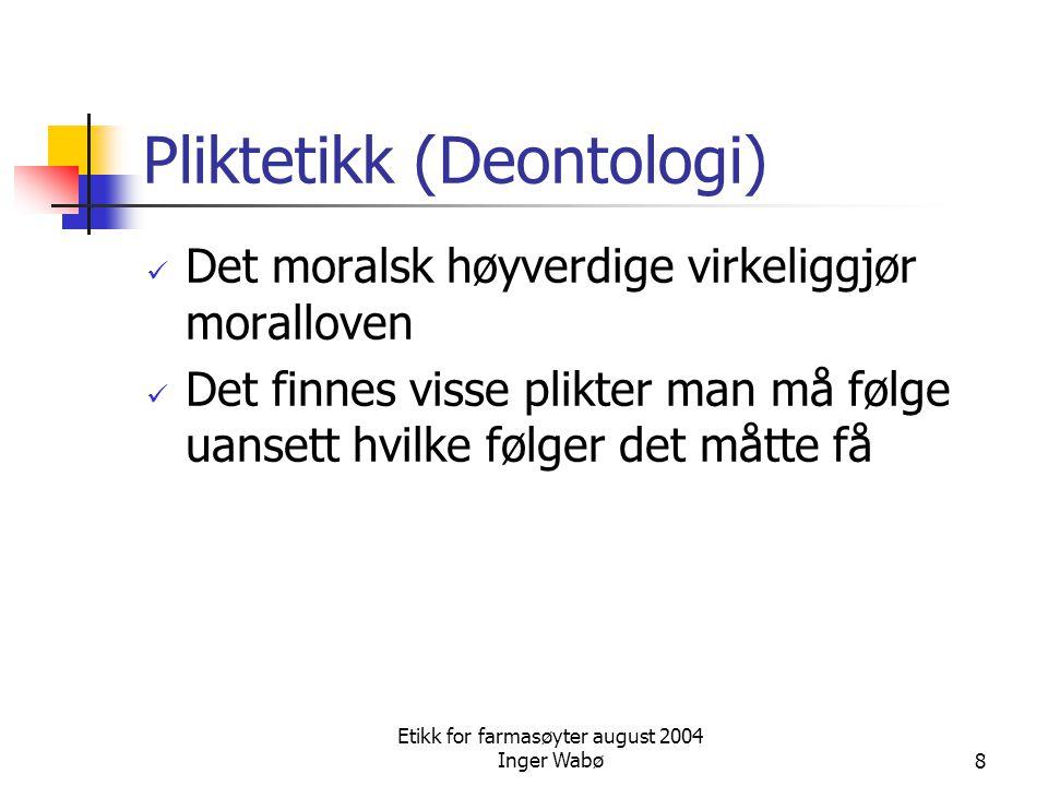 Pliktetikk (Deontologi)
