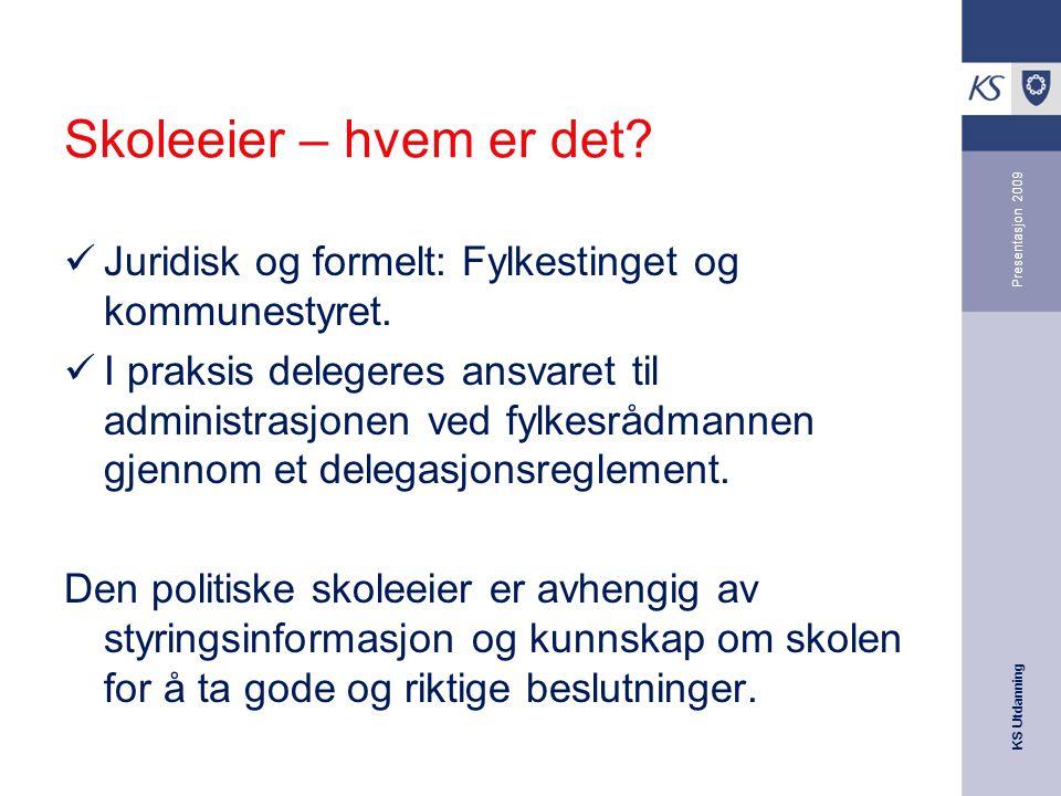 Skoleeier – hvem er det Presentasjon 2009. Juridisk og formelt: Fylkestinget og kommunestyret.