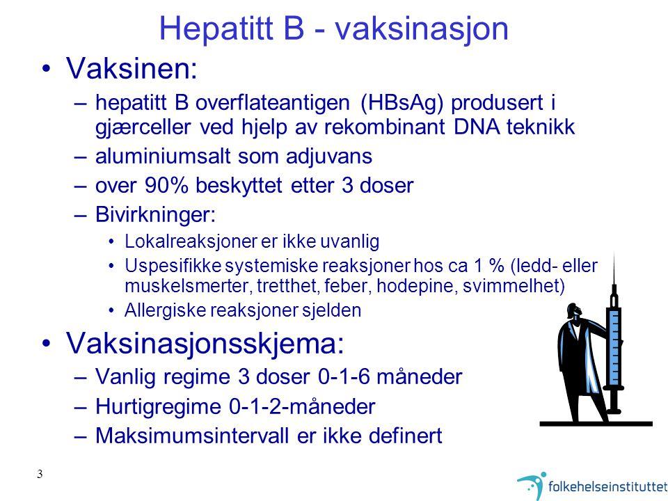 Hepatitt B - vaksinasjon