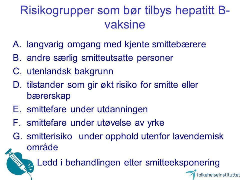 Risikogrupper som bør tilbys hepatitt B-vaksine