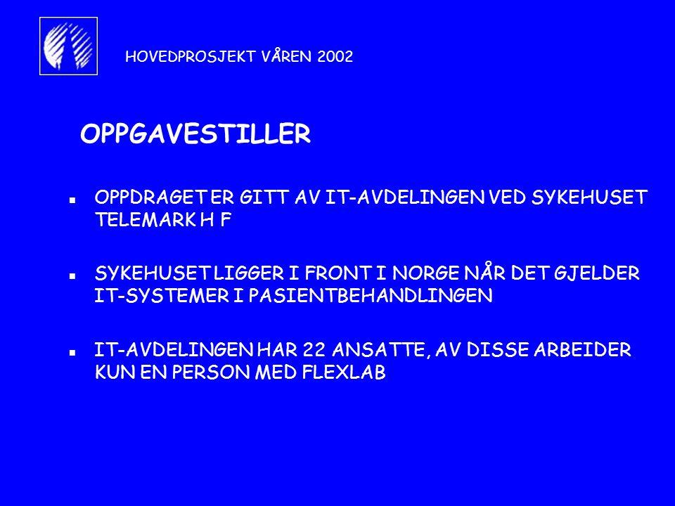 HOVEDPROSJEKT VÅREN 2002 OPPGAVESTILLER. OPPDRAGET ER GITT AV IT-AVDELINGEN VED SYKEHUSET TELEMARK H F.