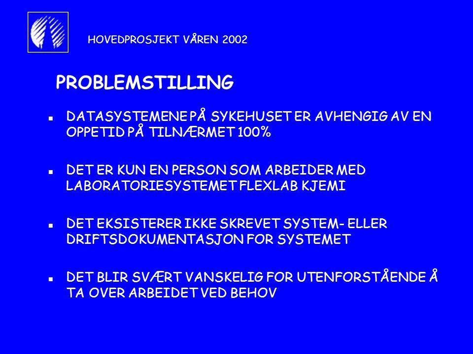 HOVEDPROSJEKT VÅREN 2002 PROBLEMSTILLING. DATASYSTEMENE PÅ SYKEHUSET ER AVHENGIG AV EN OPPETID PÅ TILNÆRMET 100%