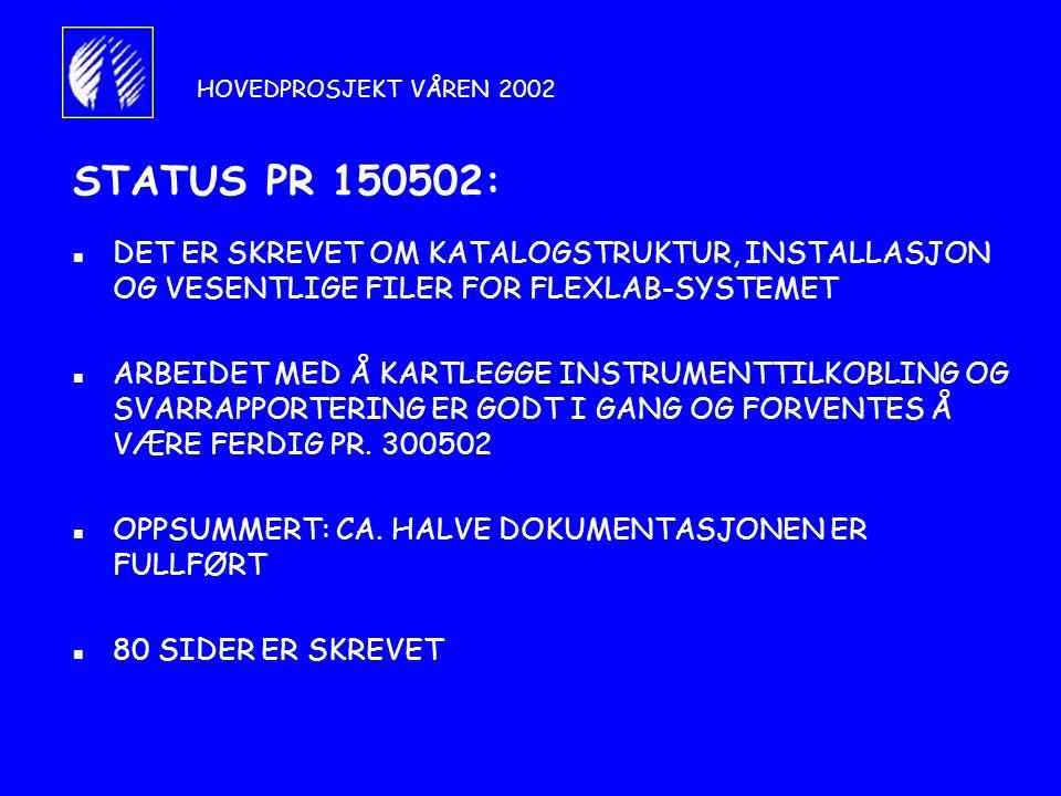 HOVEDPROSJEKT VÅREN 2002 STATUS PR 150502: DET ER SKREVET OM KATALOGSTRUKTUR, INSTALLASJON OG VESENTLIGE FILER FOR FLEXLAB-SYSTEMET.