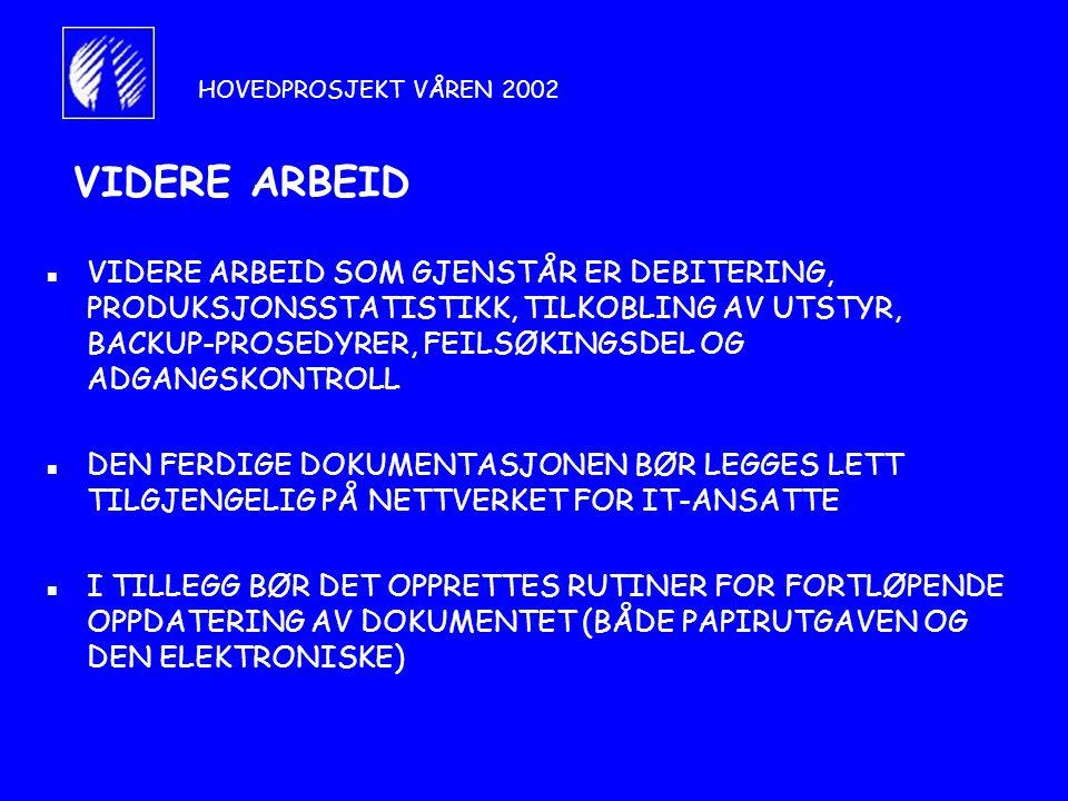 HOVEDPROSJEKT VÅREN 2002 VIDERE ARBEID.