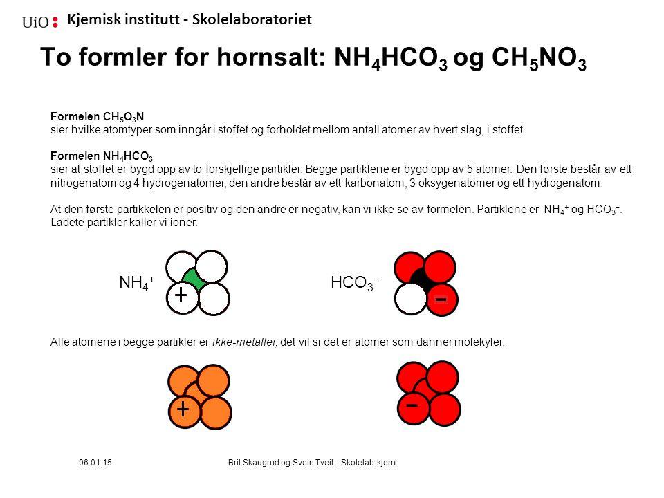 To formler for hornsalt: NH4HCO3 og CH5NO3