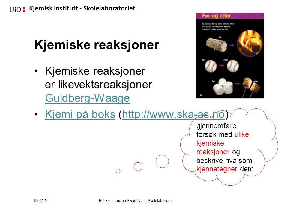 Kjemiske reaksjoner Kjemiske reaksjoner er likevektsreaksjoner Guldberg-Waage. Kjemi på boks (http://www.ska-as.no)