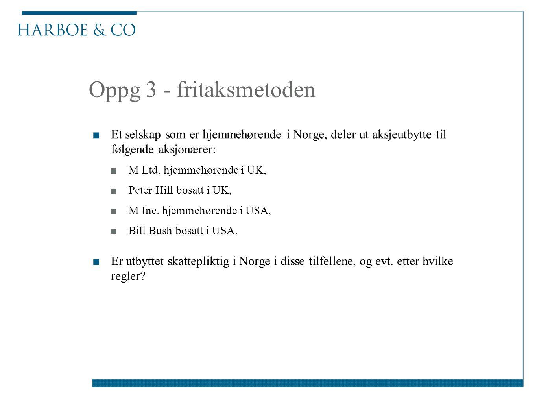 Oppg 3 - fritaksmetoden Et selskap som er hjemmehørende i Norge, deler ut aksjeutbytte til følgende aksjonærer: