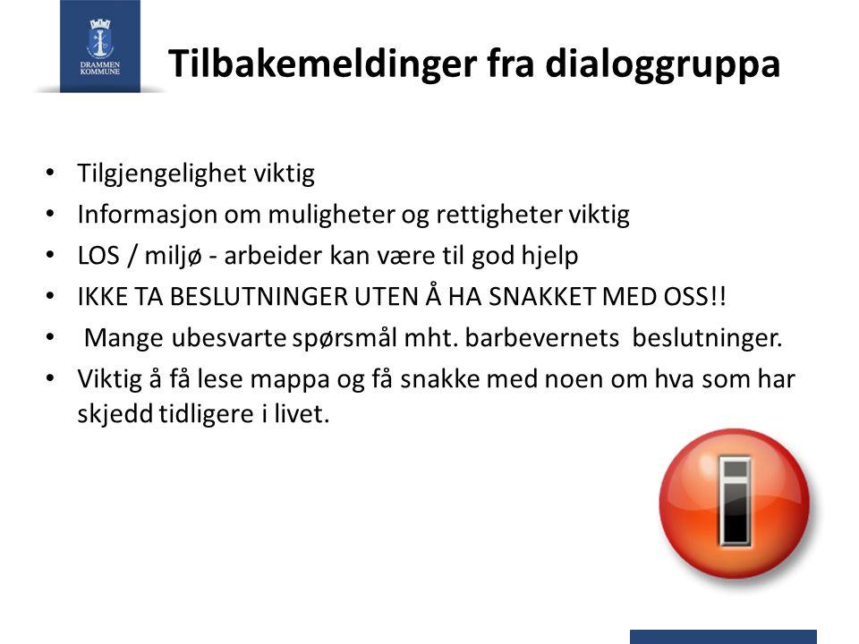 Tilbakemeldinger fra dialoggruppa