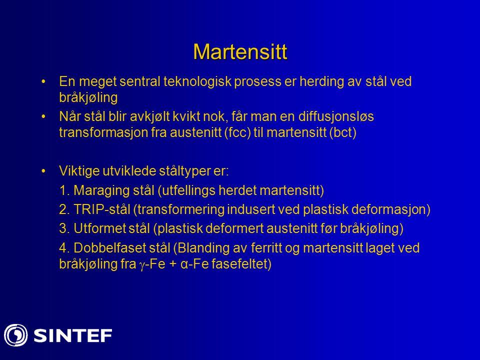 Martensitt En meget sentral teknologisk prosess er herding av stål ved bråkjøling.