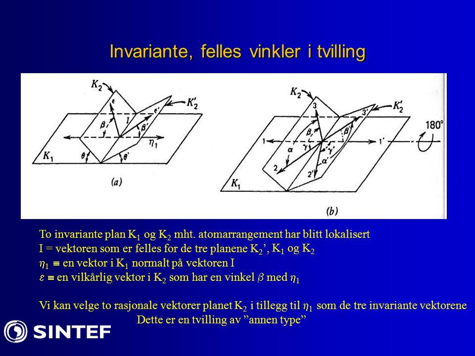 Invariante, felles vinkler i tvilling