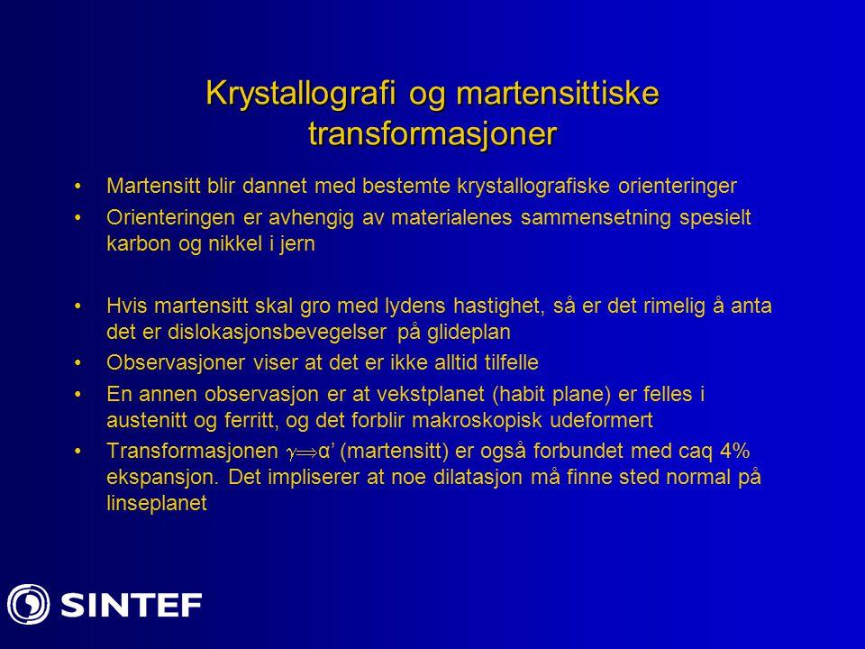 Krystallografi og martensittiske transformasjoner
