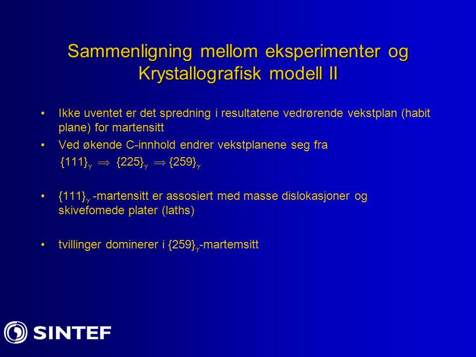 Sammenligning mellom eksperimenter og Krystallografisk modell II