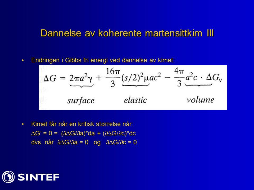 Dannelse av koherente martensittkim III