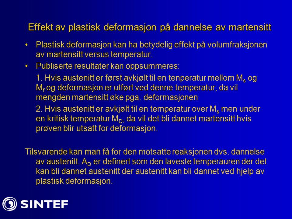 Effekt av plastisk deformasjon på dannelse av martensitt