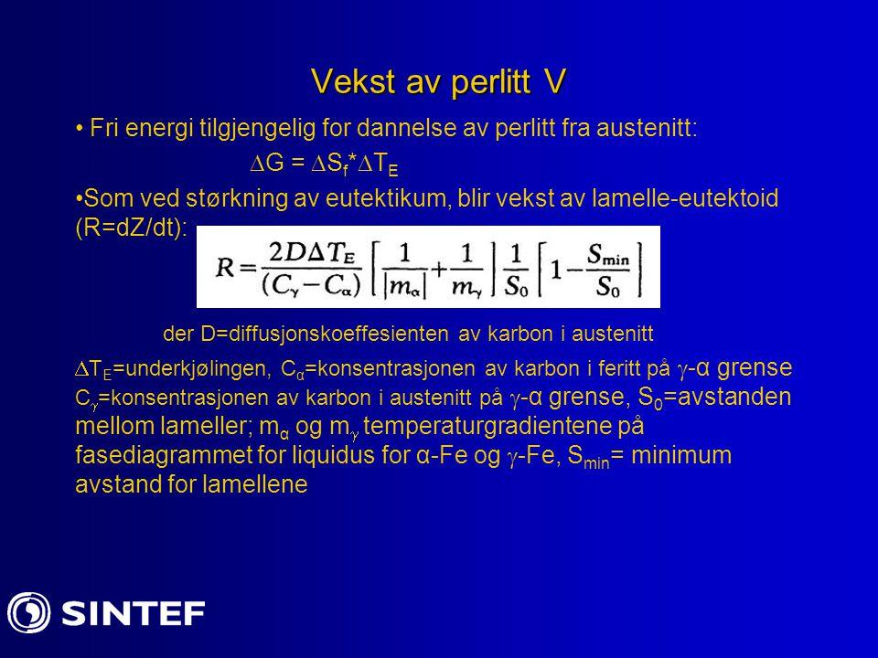 Vekst av perlitt V Fri energi tilgjengelig for dannelse av perlitt fra austenitt: G = Sf*TE.
